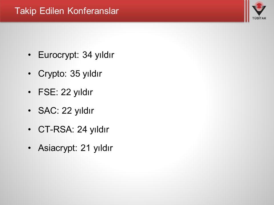 TÜBİTAK Takip Edilen Konferanslar Eurocrypt: 34 yıldır Crypto: 35 yıldır FSE: 22 yıldır SAC: 22 yıldır CT-RSA: 24 yıldır Asiacrypt: 21 yıldır