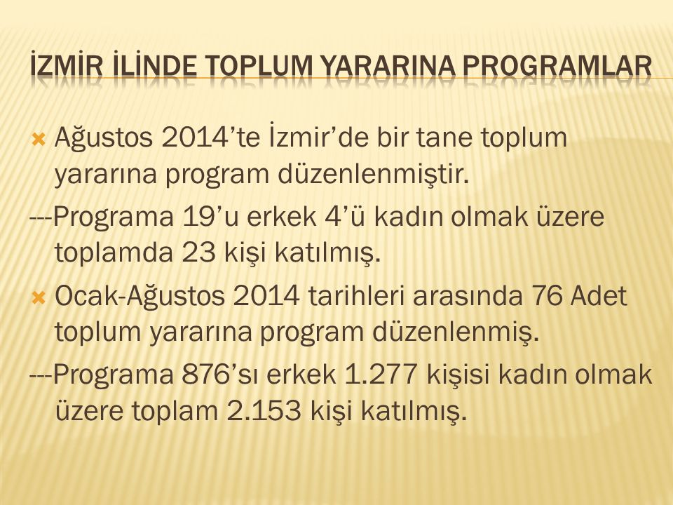  Ağustos 2014'te İzmir'de bir tane toplum yararına program düzenlenmiştir.
