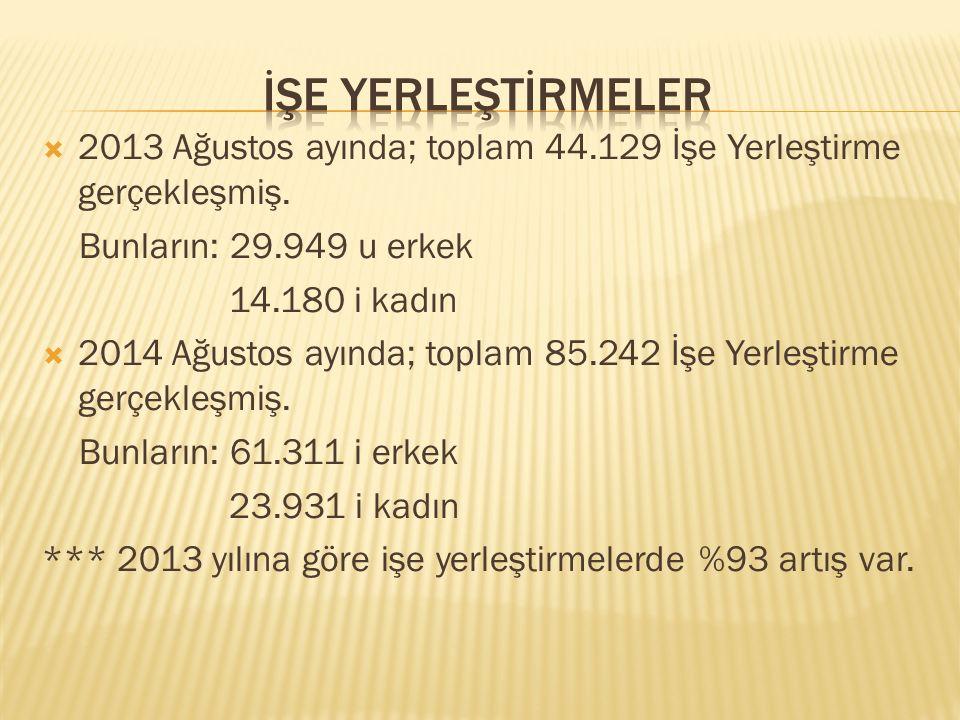  2013 Ağustos ayında; toplam 44.129 İşe Yerleştirme gerçekleşmiş.