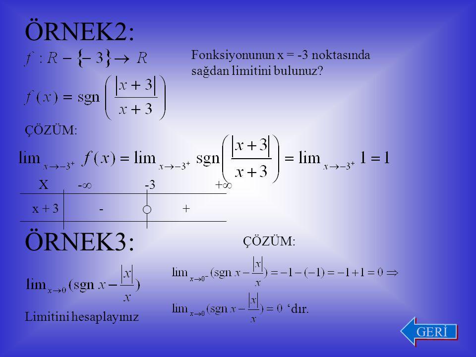 ÖRNEK1: Fonksiyonunun x = 3 noktasında limitini araştıralım.