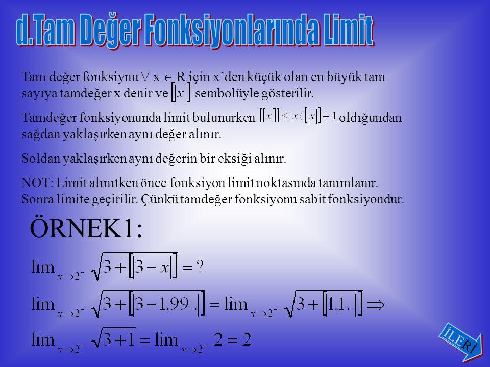 ÖRNEK2: Fonksiyonunun x = -3 noktasında sağdan limitini bulunuz.