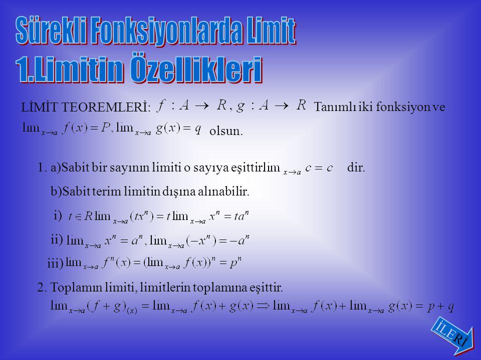 ÖRNEK2: ÇÖZÜM: Önce fonksiyonu 2'nin sağ tarafındaki değerini bulalım.