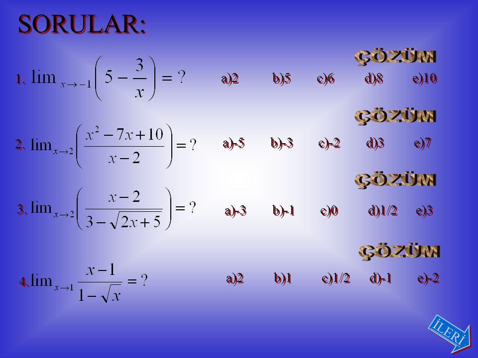 ÖRNEK: fonksiyonu Şeklinde tanımlanan f(x) fonksiyonu x = 0 noktasında sürekli olması için a ne olmalıdır.