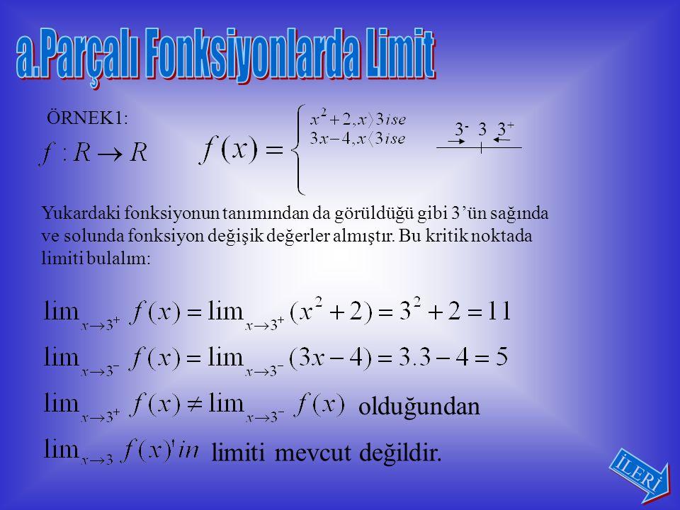 Sağdan ve soldan limitler her zaman sürekli olmayan aşağıdaki dört çeşit özel tanımlı fonksiyonlarda uygulanır.