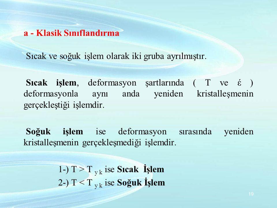 a - Klasik Sınıflandırma Sıcak ve soğuk işlem olarak iki gruba ayrılmıştır. Sıcak işlem, deformasyon şartlarında ( T ve έ ) deformasyonla aynı anda ye