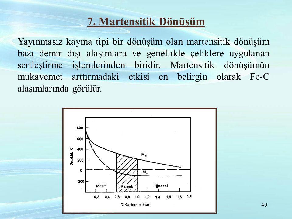 7. Martensitik Dönüşüm Yayınmasız kayma tipi bir dönüşüm olan martensitik dönüşüm bazı demir dışı alaşımlara ve genellikle çeliklere uygulanan sertleş