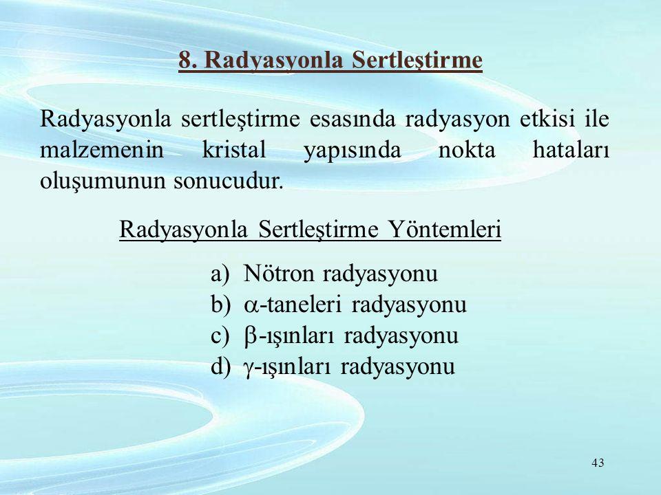 8. Radyasyonla Sertleştirme Radyasyonla sertleştirme esasında radyasyon etkisi ile malzemenin kristal yapısında nokta hataları oluşumunun sonucudur. R