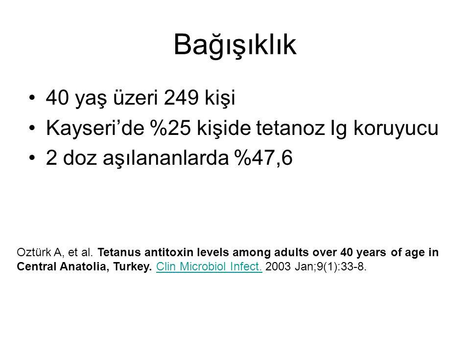 Bağışıklık 40 yaş üzeri 249 kişi Kayseri'de %25 kişide tetanoz Ig koruyucu 2 doz aşılananlarda %47,6 Oztürk A, et al. Tetanus antitoxin levels among a