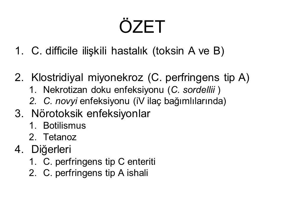 ÖZET 1.C. difficile ilişkili hastalık (toksin A ve B) 2.Klostridiyal miyonekroz (C. perfringens tip A) 1.Nekrotizan doku enfeksiyonu (C. sordellii ) 2