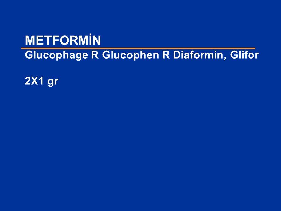 METFORMİN Glucophage R Glucophen R Diaformin, Glifor 2X1 gr
