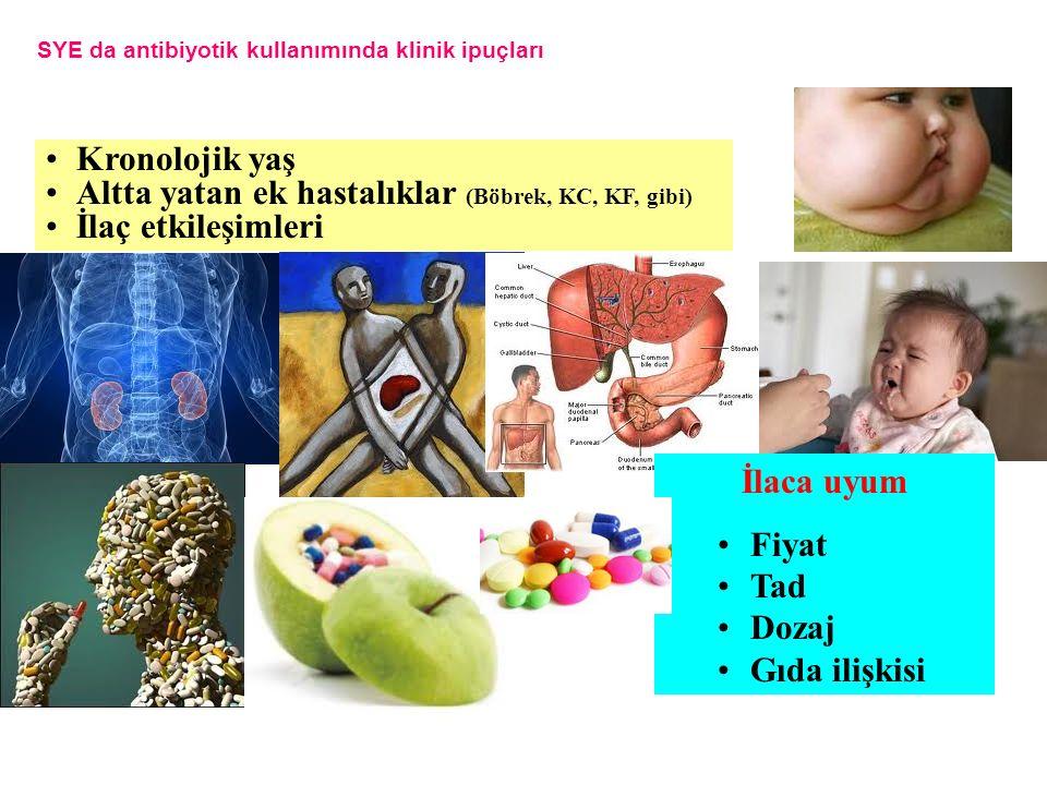 Kronolojik yaş Altta yatan ek hastalıklar (Böbrek, KC, KF, gibi) İlaç etkileşimleri SYE da antibiyotik kullanımında klinik ipuçları İlaca uyum Fiyat Tad Dozaj Gıda ilişkisi