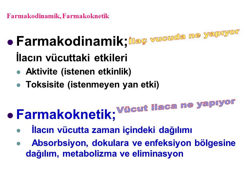 Farmakodinamik, Farmakoknetik Farmakodinamik; İlacın vücuttaki etkileri Aktivite (istenen etkinlik) Toksisite (istenmeyen yan etki) Farmakoknetik; İla