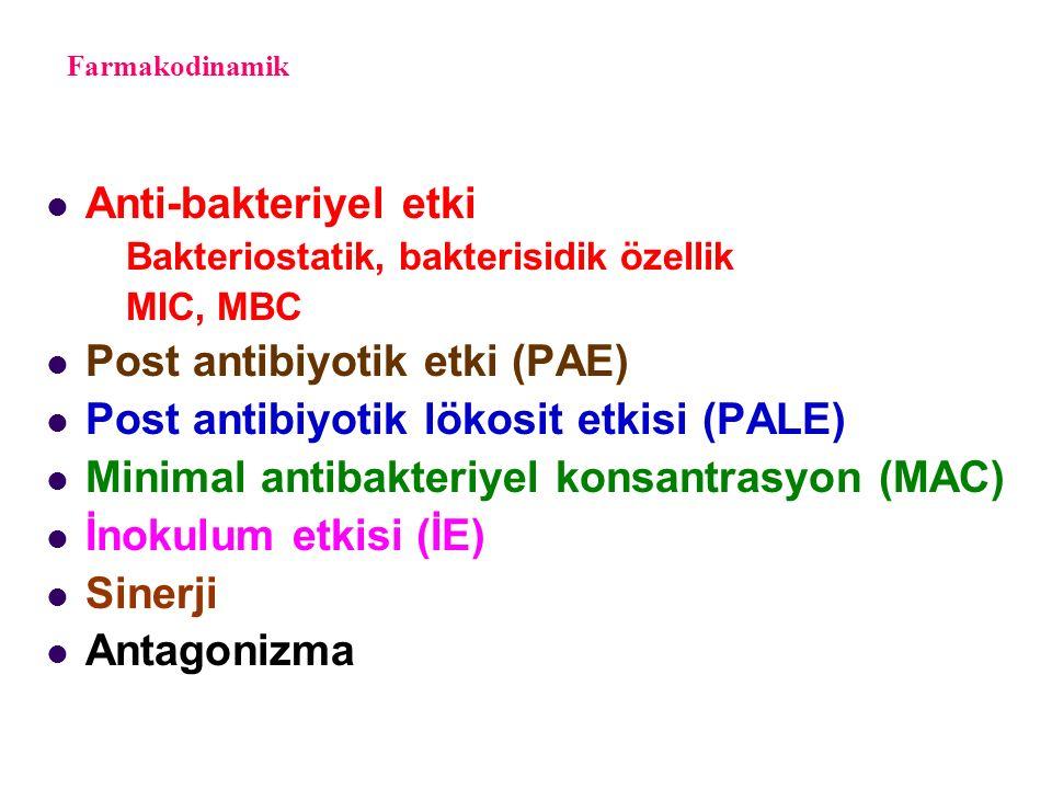 Farmakodinamik Anti-bakteriyel etki Bakteriostatik, bakterisidik özellik MIC, MBC Post antibiyotik etki (PAE) Post antibiyotik lökosit etkisi (PALE) Minimal antibakteriyel konsantrasyon (MAC) İnokulum etkisi (İE) Sinerji Antagonizma