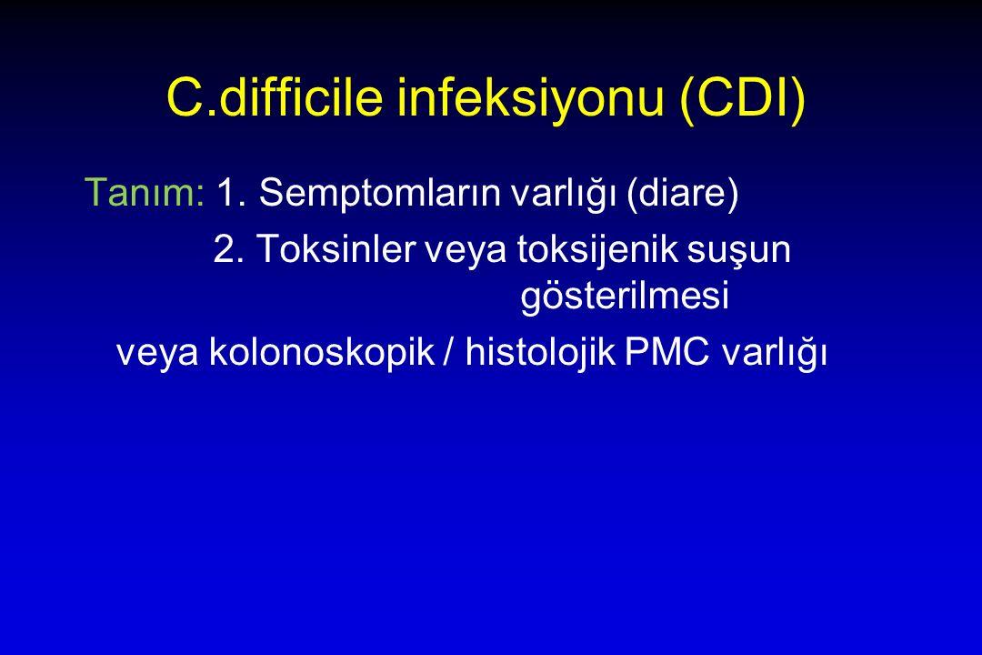 C.difficile infeksiyonu (CDI) Tanım: 1. Semptomların varlığı (diare) 2.