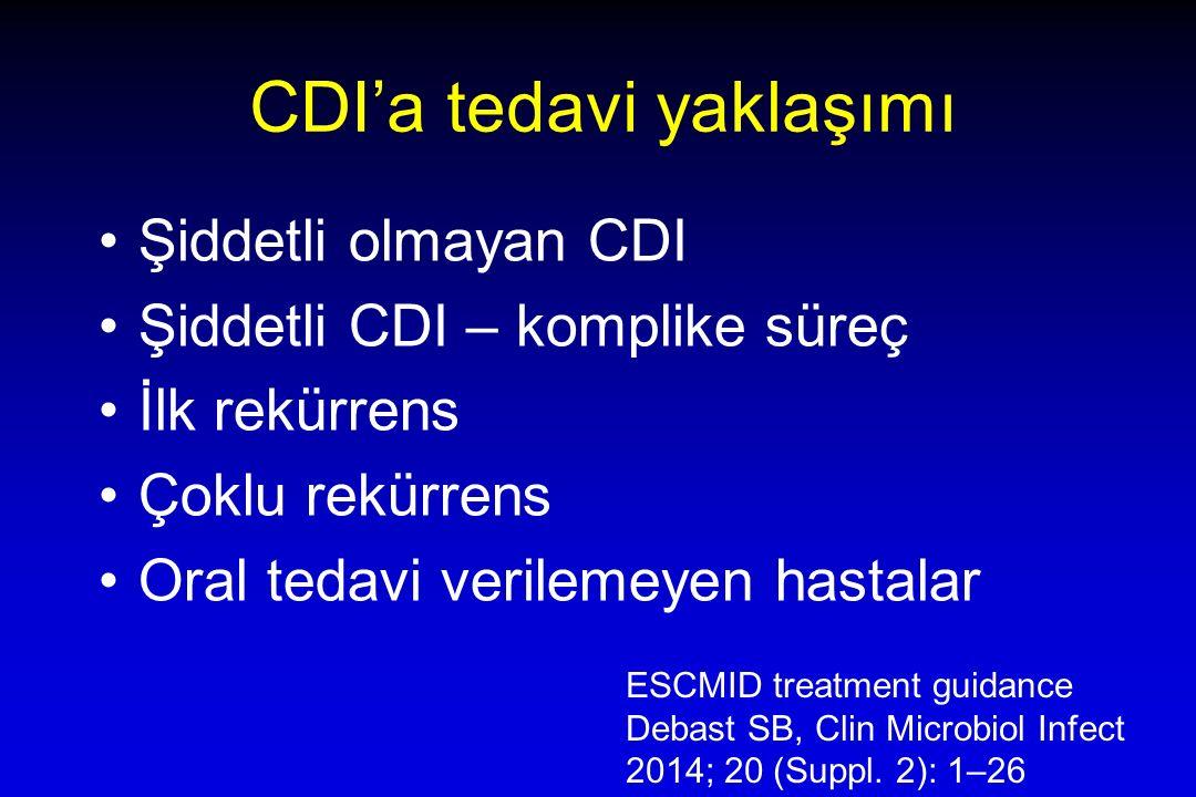 CDI'a tedavi yaklaşımı Şiddetli olmayan CDI Şiddetli CDI – komplike süreç İlk rekürrens Çoklu rekürrens Oral tedavi verilemeyen hastalar ESCMID treatment guidance Debast SB, Clin Microbiol Infect 2014; 20 (Suppl.
