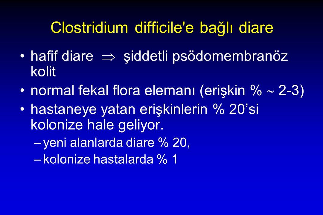 Clostridium difficile e bağlı diare hafif diare  şiddetli psödomembranöz kolit normal fekal flora elemanı (erişkin %  2-3) hastaneye yatan erişkinlerin % 20'si kolonize hale geliyor.