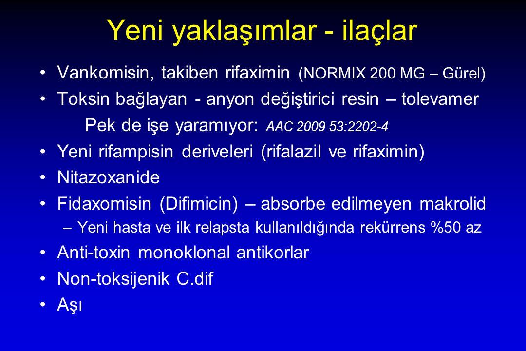 Yeni yaklaşımlar - ilaçlar Vankomisin, takiben rifaximin (NORMIX 200 MG – Gürel) Toksin bağlayan - anyon değiştirici resin – tolevamer Pek de işe yaramıyor: AAC 2009 53:2202-4 Yeni rifampisin deriveleri (rifalazil ve rifaximin) Nitazoxanide Fidaxomisin (Difimicin) – absorbe edilmeyen makrolid –Yeni hasta ve ilk relapsta kullanıldığında rekürrens %50 az Anti-toxin monoklonal antikorlar Non-toksijenik C.dif Aşı