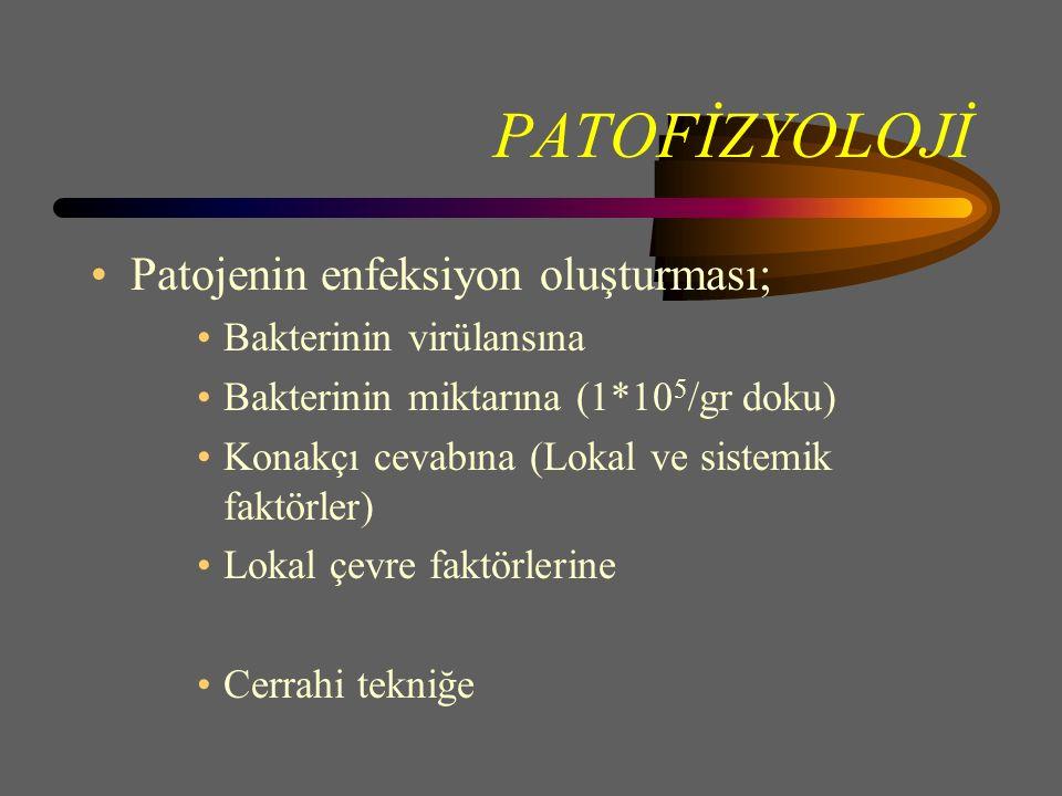 PATOFİZYOLOJİ Patojenin enfeksiyon oluşturması; Bakterinin virülansına Bakterinin miktarına (1*10 5 /gr doku) Konakçı cevabına (Lokal ve sistemik faktörler) Lokal çevre faktörlerine Cerrahi tekniğe