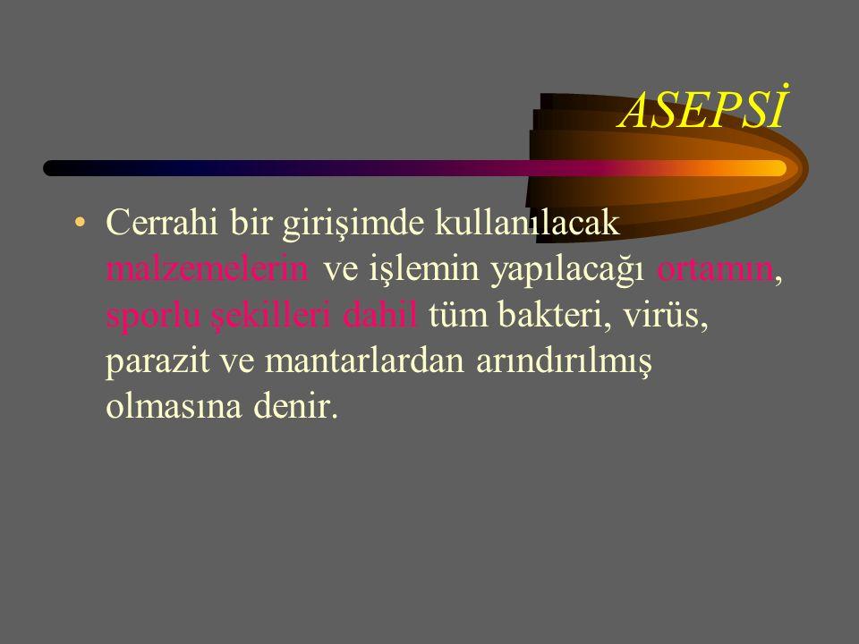ASEPSİ Cerrahi bir girişimde kullanılacak malzemelerin ve işlemin yapılacağı ortamın, sporlu şekilleri dahil tüm bakteri, virüs, parazit ve mantarlardan arındırılmış olmasına denir.