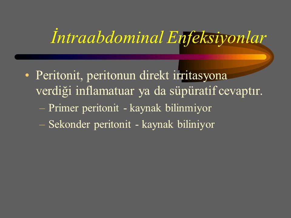 İntraabdominal Enfeksiyonlar Peritonit, peritonun direkt irritasyona verdiği inflamatuar ya da süpüratif cevaptır.