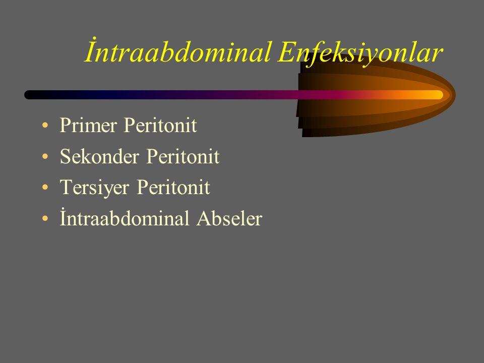 İntraabdominal Enfeksiyonlar Primer Peritonit Sekonder Peritonit Tersiyer Peritonit İntraabdominal Abseler