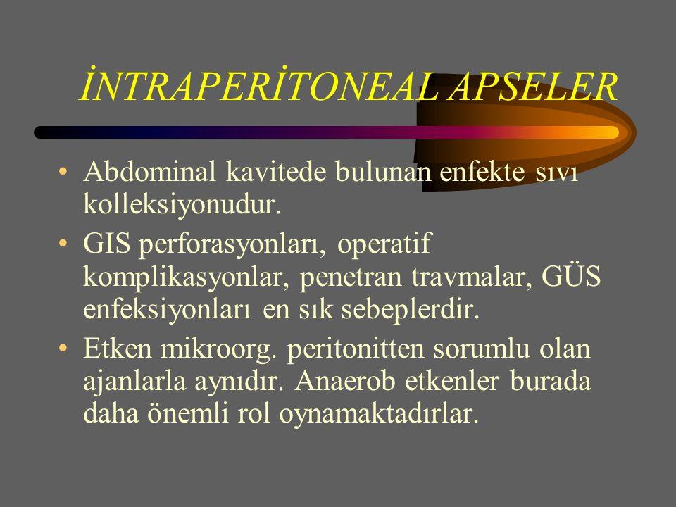 İNTRAPERİTONEAL APSELER Abdominal kavitede bulunan enfekte sıvı kolleksiyonudur.