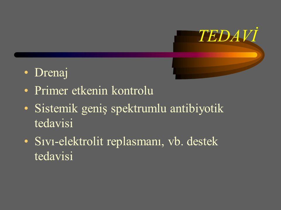 TEDAVİ Drenaj Primer etkenin kontrolu Sistemik geniş spektrumlu antibiyotik tedavisi Sıvı-elektrolit replasmanı, vb.