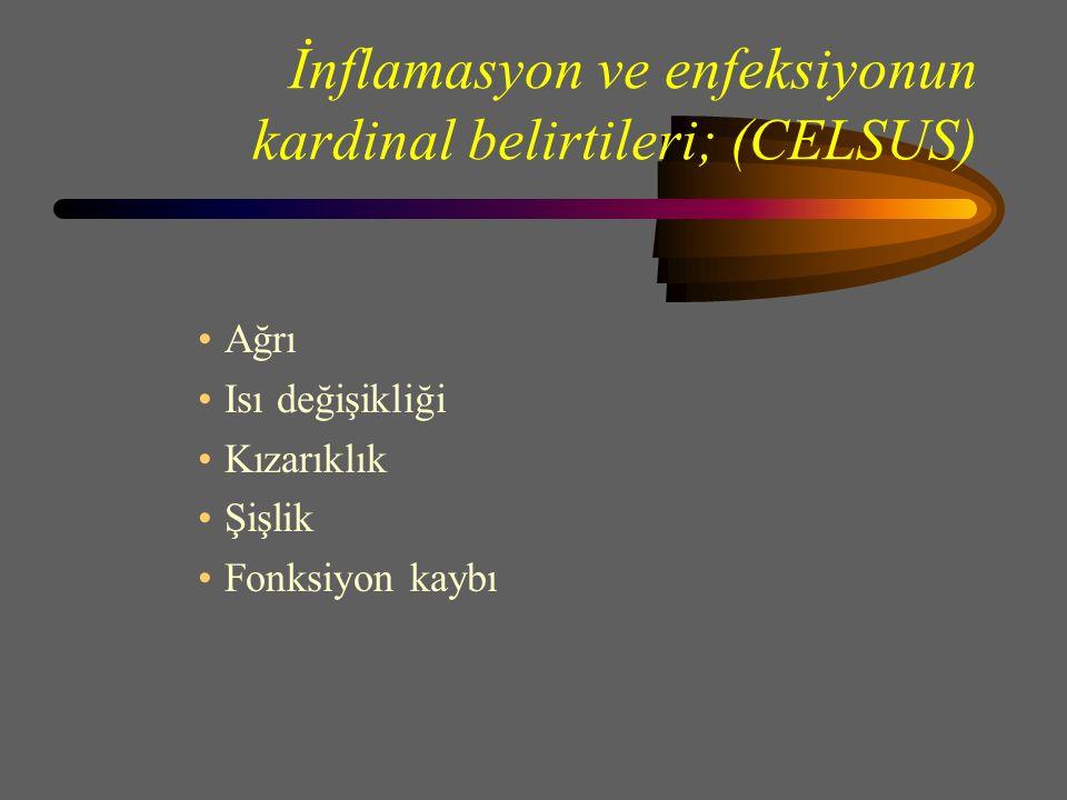 İnflamasyon ve enfeksiyonun kardinal belirtileri; (CELSUS) Ağrı Isı değişikliği Kızarıklık Şişlik Fonksiyon kaybı
