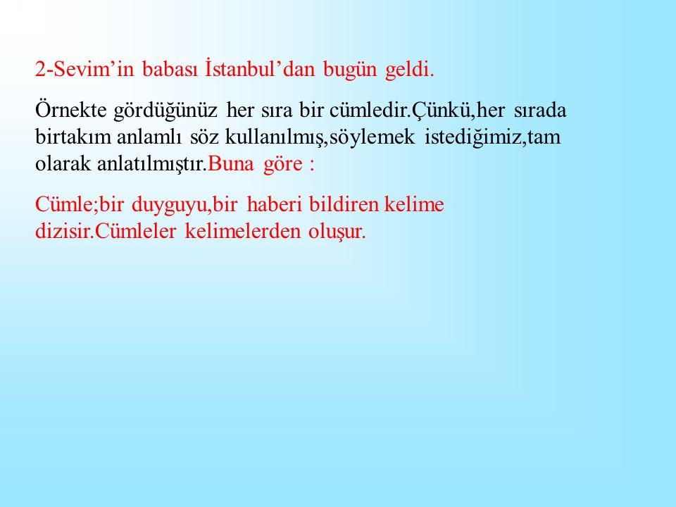 2-Sevim'in babası İstanbul'dan bugün geldi.