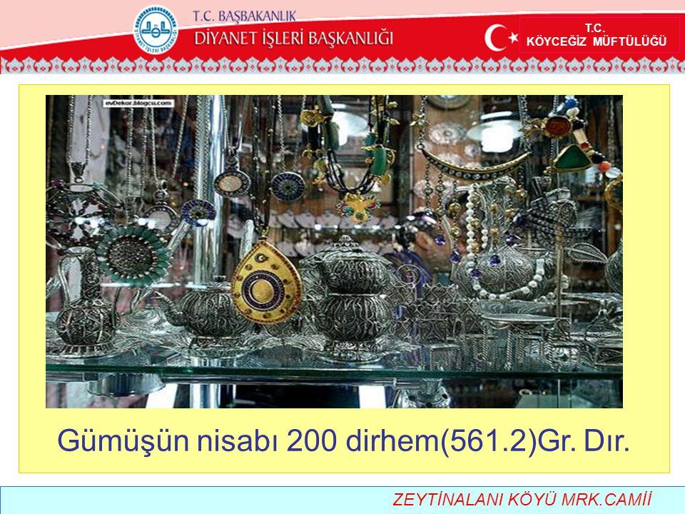 T.C. KÖYCEĞİZ MÜFTÜLÜĞÜ Gümüşün nisabı 200 dirhem(561.2)Gr. Dır. ZEYTİNALANI KÖYÜ MRK.CAMİİ