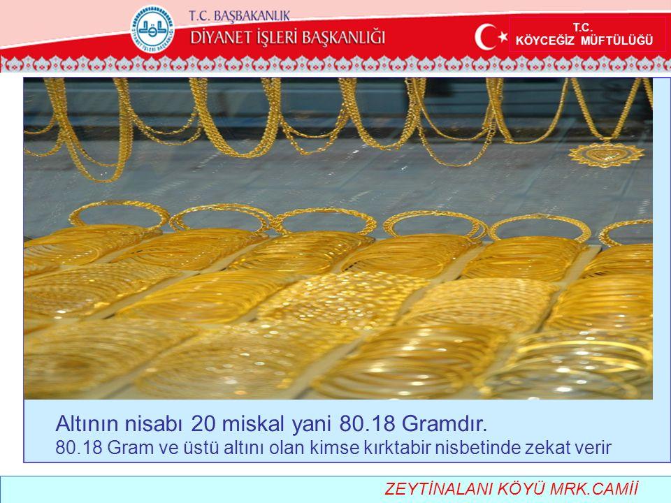 T.C.KÖYCEĞİZ MÜFTÜLÜĞÜ Altının nisabı 20 miskal yani 80.18 Gramdır.
