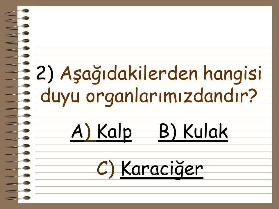 1) Aşağıdakilerden hangisi iç organlarımızdan biridir? A) kalpkalpB) göz gözC) derideri