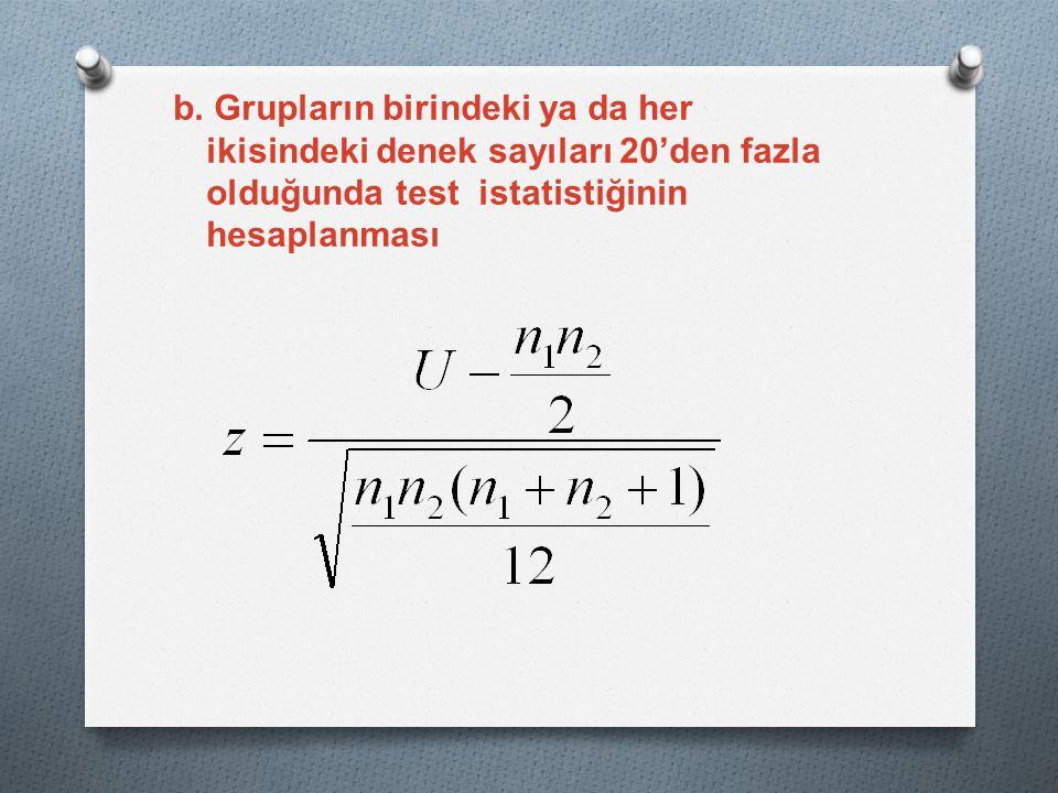 b. Grupların birindeki ya da her ikisindeki denek sayıları 20'den fazla olduğunda test istatistiğinin hesaplanması