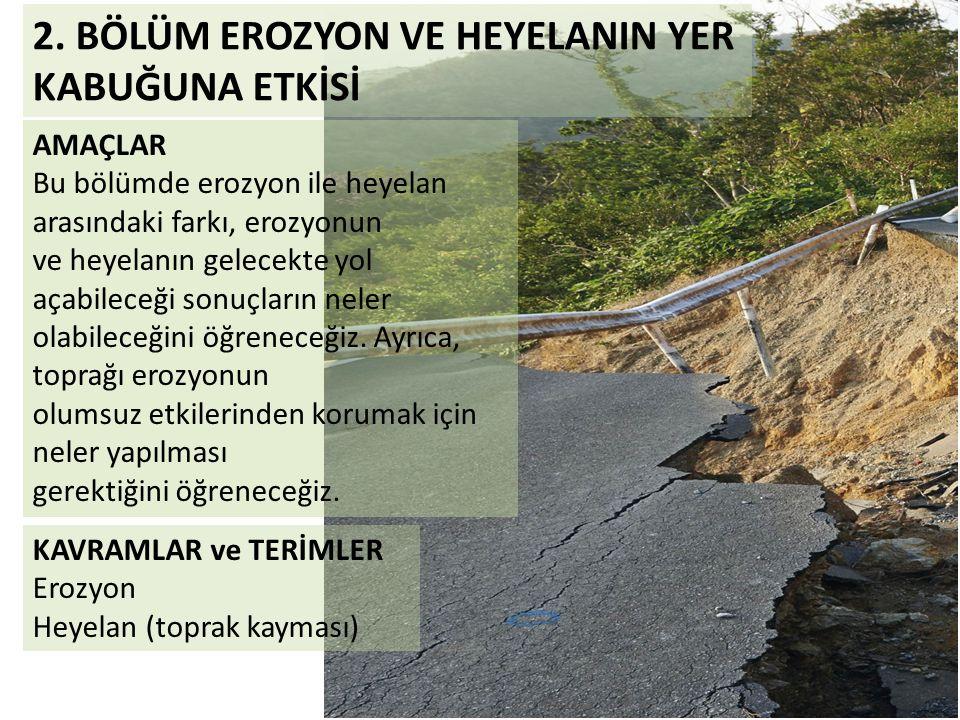 2. BÖLÜM EROZYON VE HEYELANIN YER KABUĞUNA ETKİSİ AMAÇLAR Bu bölümde erozyon ile heyelan arasındaki farkı, erozyonun ve heyelanın gelecekte yol açabil
