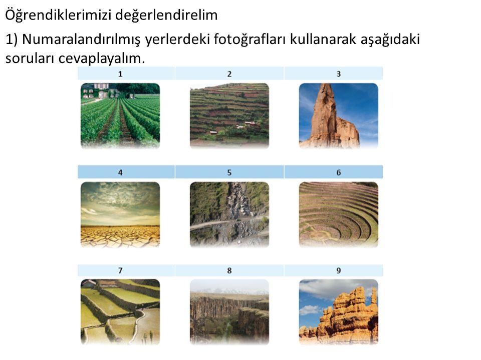 Öğrendiklerimizi değerlendirelim 1) Numaralandırılmış yerlerdeki fotoğrafları kullanarak aşağıdaki soruları cevaplayalım.
