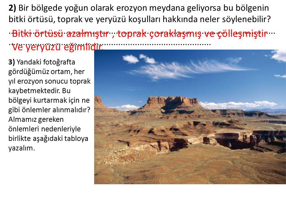 2) Bir bölgede yoğun olarak erozyon meydana geliyorsa bu bölgenin bitki örtüsü, toprak ve yeryüzü koşulları hakkında neler söylenebilir?..............