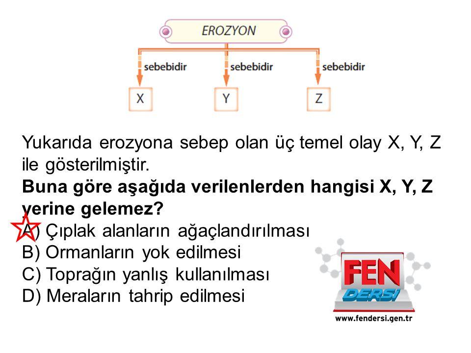 Yukarıda erozyona sebep olan üç temel olay X, Y, Z ile gösterilmiştir. Buna göre aşağıda verilenlerden hangisi X, Y, Z yerine gelemez? A) Çıplak alanl