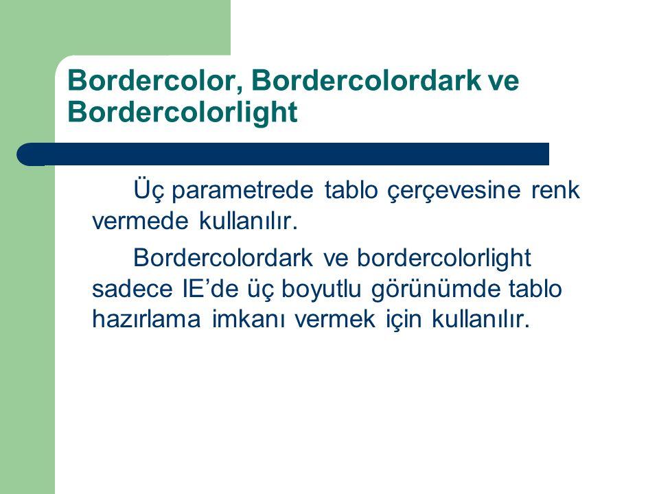 Bordercolor, Bordercolordark ve Bordercolorlight Üç parametrede tablo çerçevesine renk vermede kullanılır. Bordercolordark ve bordercolorlight sadece
