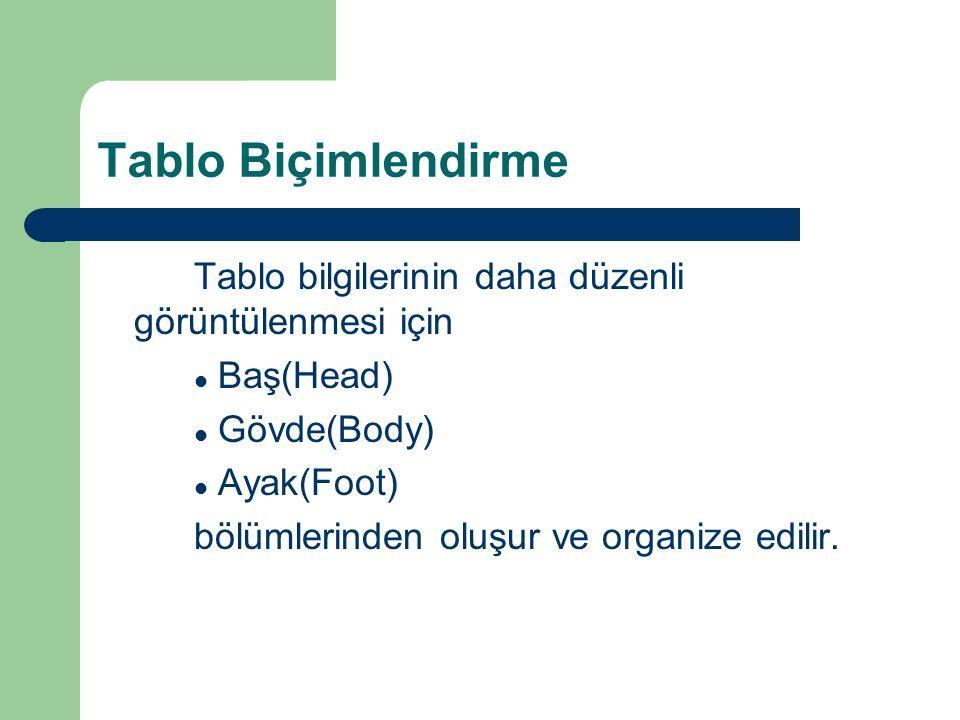 Tablo Biçimlendirme Tablo bilgilerinin daha düzenli görüntülenmesi için Baş(Head) Gövde(Body) Ayak(Foot) bölümlerinden oluşur ve organize edilir.