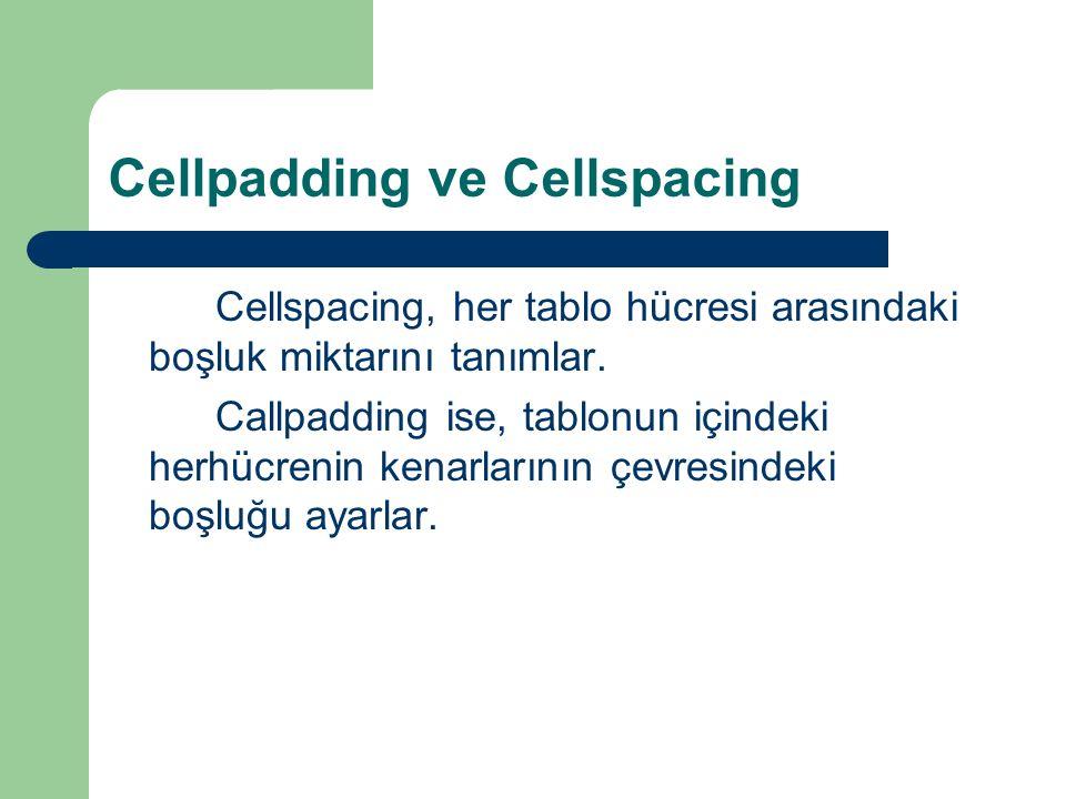 Cellpadding ve Cellspacing Cellspacing, her tablo hücresi arasındaki boşluk miktarını tanımlar. Callpadding ise, tablonun içindeki herhücrenin kenarla