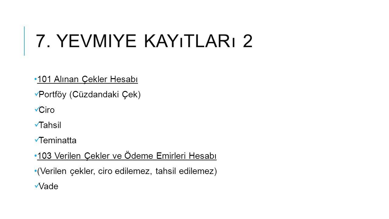 7. YEVMIYE KAYıTLARı 2 101 Alınan Çekler Hesabı Portföy (Cüzdandaki Çek) Ciro Tahsil Teminatta 103 Verilen Çekler ve Ödeme Emirleri Hesabı (Verilen çe