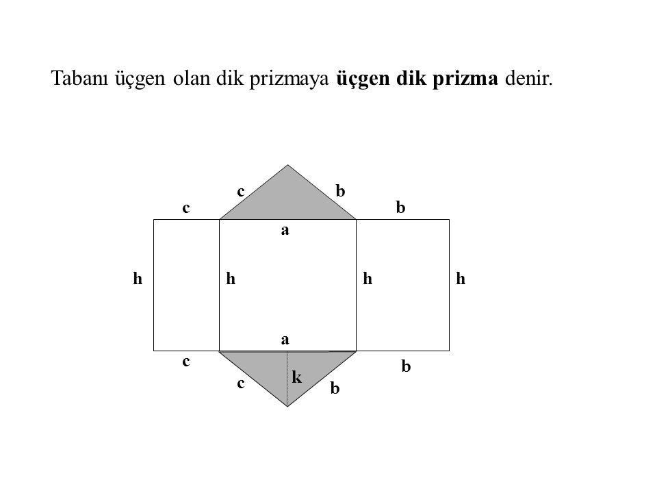Tabanı üçgen olan dik prizmaya üçgen dik prizma denir. a a b c h c c c b b b hhh k