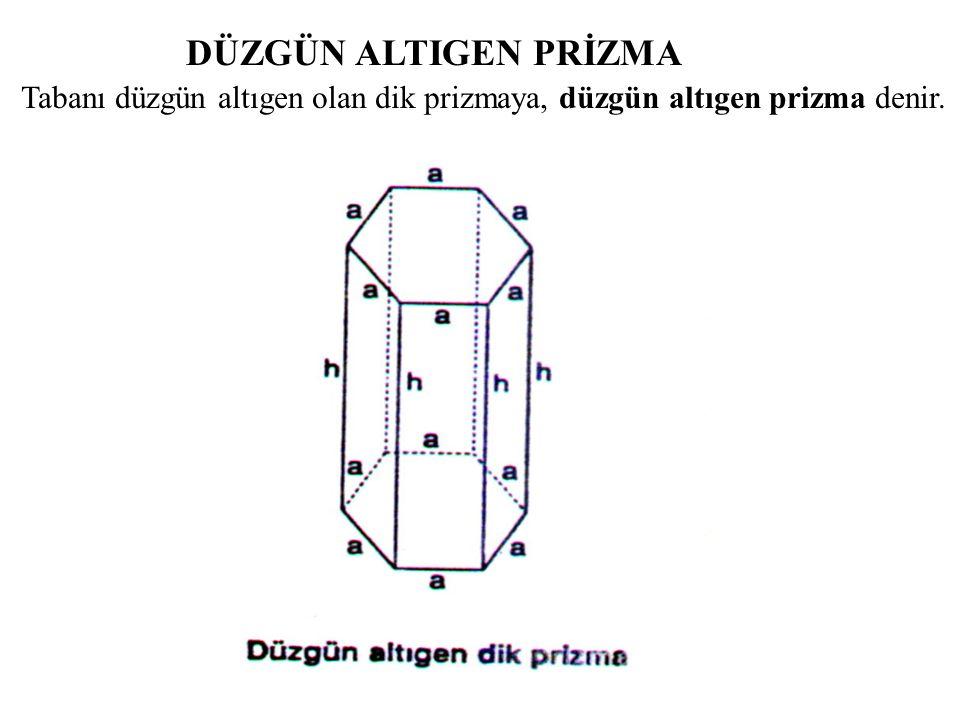 DÜZGÜN ALTIGEN PRİZMA Tabanı düzgün altıgen olan dik prizmaya, düzgün altıgen prizma denir.