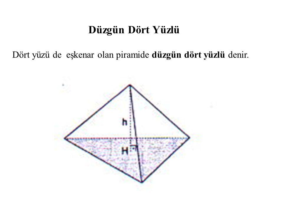 Düzgün Dört Yüzlü Dört yüzü de eşkenar olan piramide düzgün dört yüzlü denir.