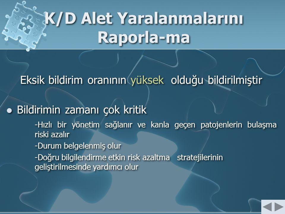 K/D Alet Yaralanmalarını Raporla-ma Eksik bildirim oranının yüksek olduğu bildirilmiştir Bildirimin zamanı çok kritik -Hızlı bir yönetim sağlanır ve k