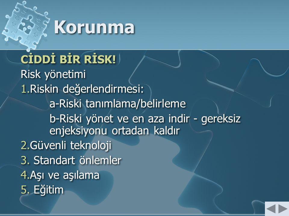 Korunma CİDDİ BİR RİSK! Risk yönetimi 1.Riskin değerlendirmesi: a-Riski tanımlama/belirleme b-Riski yönet ve en aza indir - gereksiz enjeksiyonu ortad