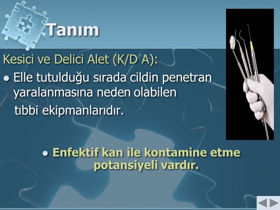 Tanım Kesici ve Delici Alet (K/D A): Elle tutulduğu sırada cildin penetran yaralanmasına neden olabilen tıbbi ekipmanlarıdır. Kesici ve Delici Alet (K