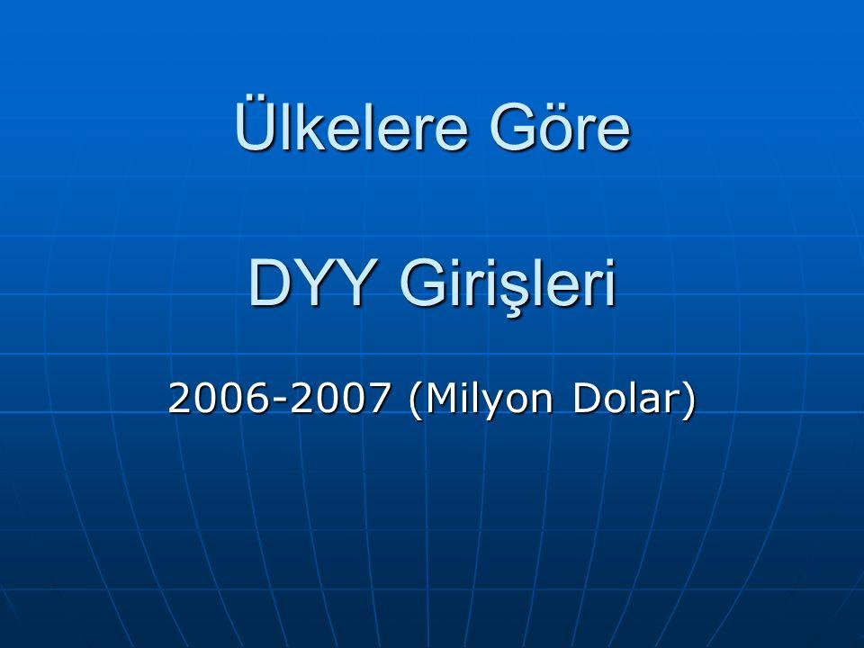 Ülkelere Göre DYY Girişleri 2006-2007 (Milyon Dolar)