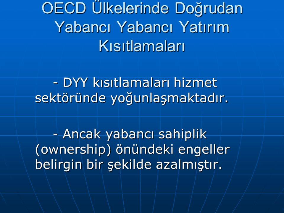 OECD Ülkelerinde Doğrudan Yabancı Yabancı Yatırım Kısıtlamaları - DYY kısıtlamaları hizmet sektöründe yoğunlaşmaktadır. - Ancak yabancı sahiplik (owne