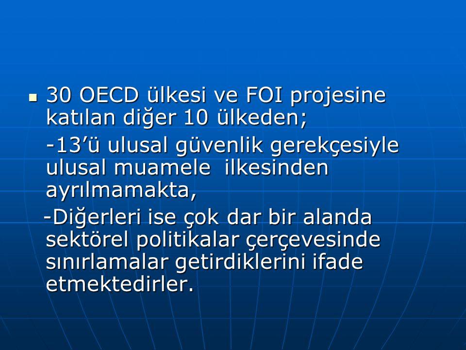 30 OECD ülkesi ve FOI projesine katılan diğer 10 ülkeden; 30 OECD ülkesi ve FOI projesine katılan diğer 10 ülkeden; -13'ü ulusal güvenlik gerekçesiyle ulusal muamele ilkesinden ayrılmamakta, -13'ü ulusal güvenlik gerekçesiyle ulusal muamele ilkesinden ayrılmamakta, -Diğerleri ise çok dar bir alanda sektörel politikalar çerçevesinde sınırlamalar getirdiklerini ifade etmektedirler.